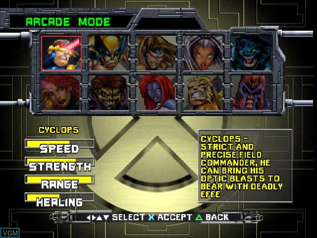 Image du menu du jeu X-Men - Mutant Academy sur Sony Playstation
