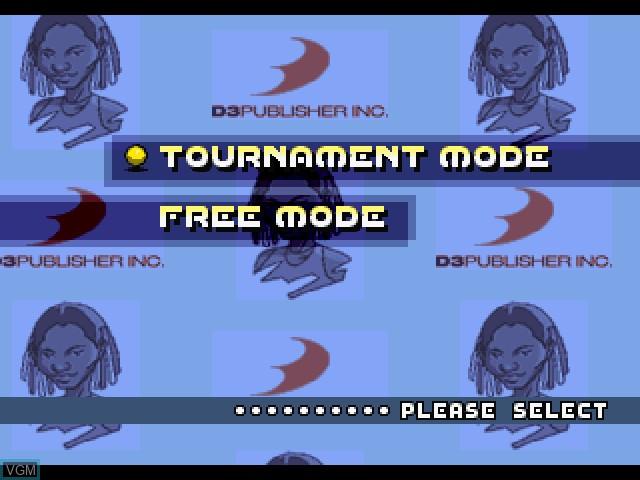 Image du menu du jeu All Star Tennis 2000 sur Sony Playstation