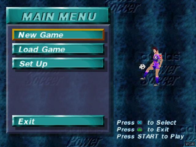 Image du menu du jeu Adidas Power Soccer sur Sony Playstation