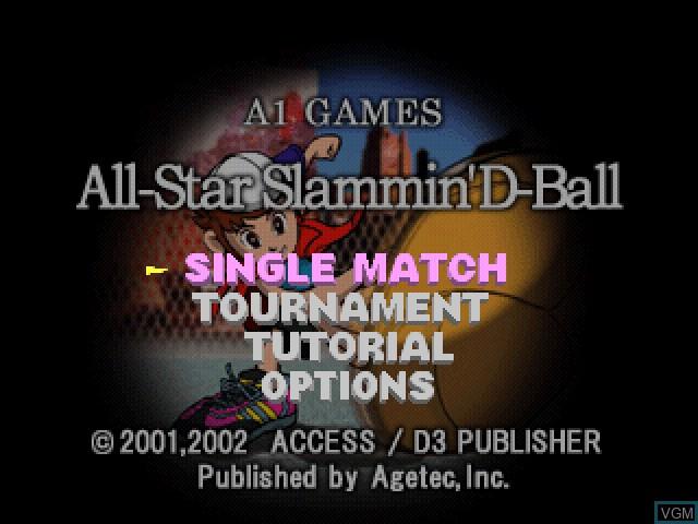 Image du menu du jeu All-Star Slammin' D-Ball sur Sony Playstation