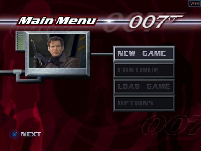 Image du menu du jeu 007 - Tomorrow Never Dies sur Sony Playstation