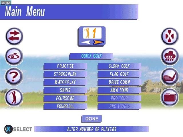 Image du menu du jeu Actua Golf 3 sur Sony Playstation