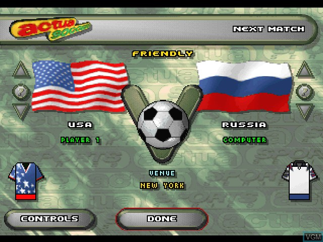 Image du menu du jeu Actua Soccer sur Sony Playstation