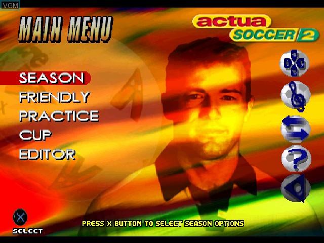 Image du menu du jeu Actua Soccer 2 sur Sony Playstation