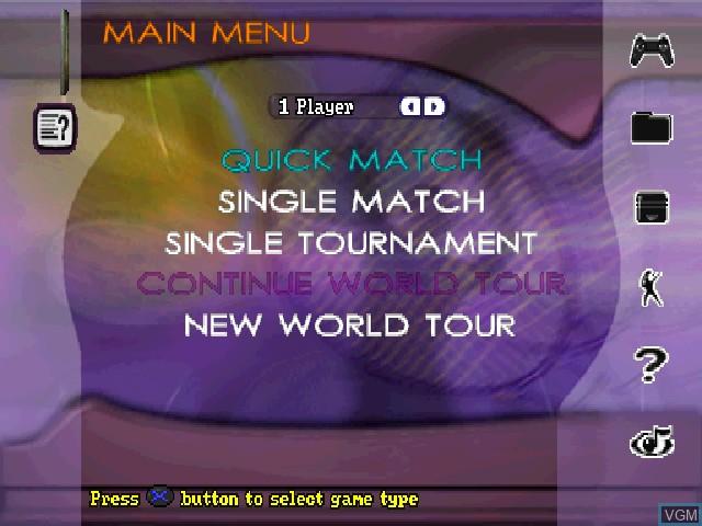Image du menu du jeu Actua Tennis sur Sony Playstation