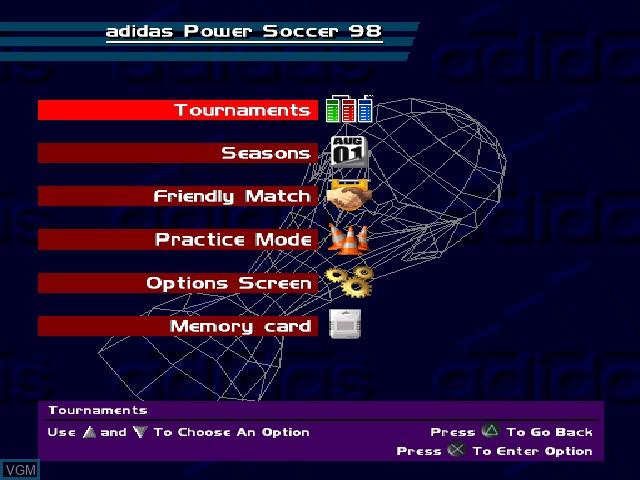 Image du menu du jeu Adidas Power Soccer 98 sur Sony Playstation