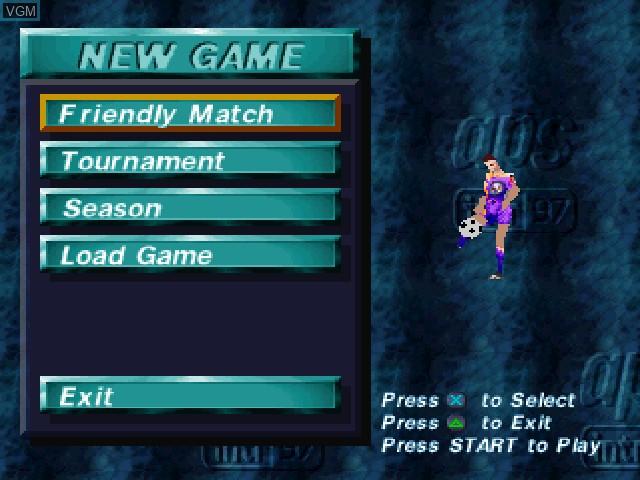 Image du menu du jeu Adidas Power Soccer International '97 sur Sony Playstation