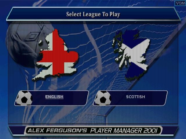 Image du menu du jeu Alex Ferguson's Player Manager 2001 sur Sony Playstation