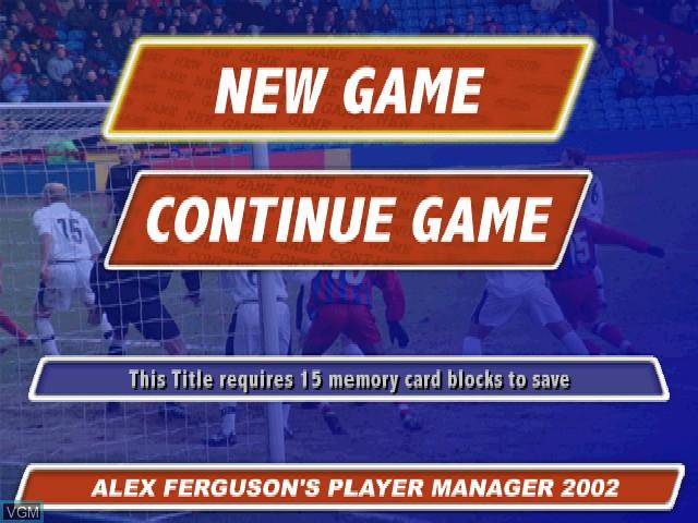 Image du menu du jeu Alex Ferguson's Player Manager 2002 sur Sony Playstation