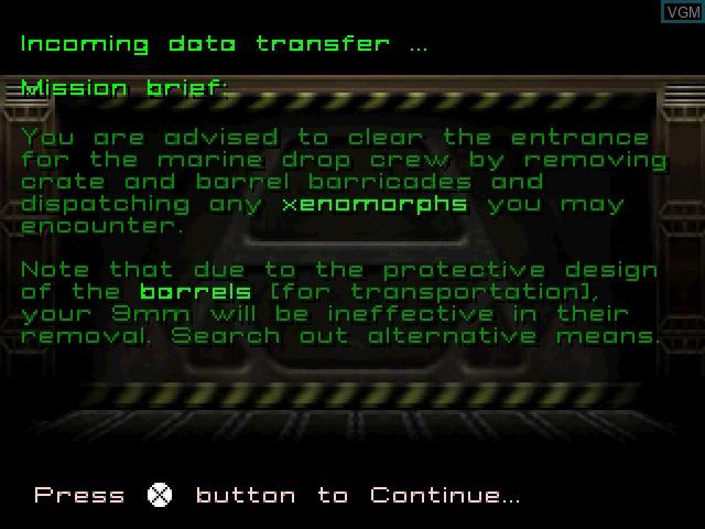 Image du menu du jeu Alien Trilogy sur Sony Playstation