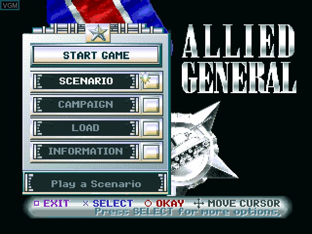 Image du menu du jeu Allied General sur Sony Playstation