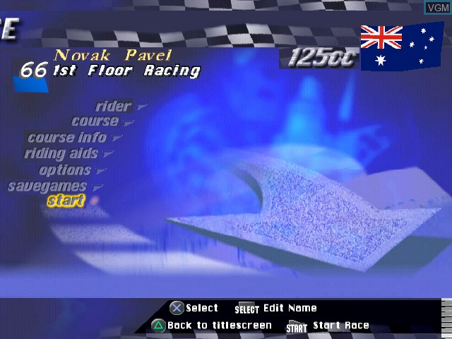 Image du menu du jeu Extreme 500 sur Sony Playstation