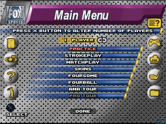 Image du menu du jeu FOX Sports Golf '99 sur Sony Playstation