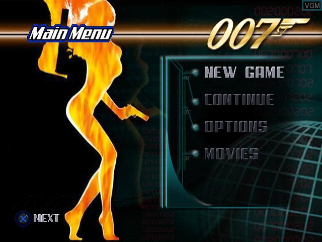 Image du menu du jeu 007 - The World Is Not Enough sur Sony Playstation