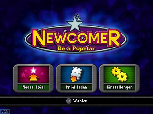 Image du menu du jeu Newcomer - Be a Popstar sur Sony Playstation