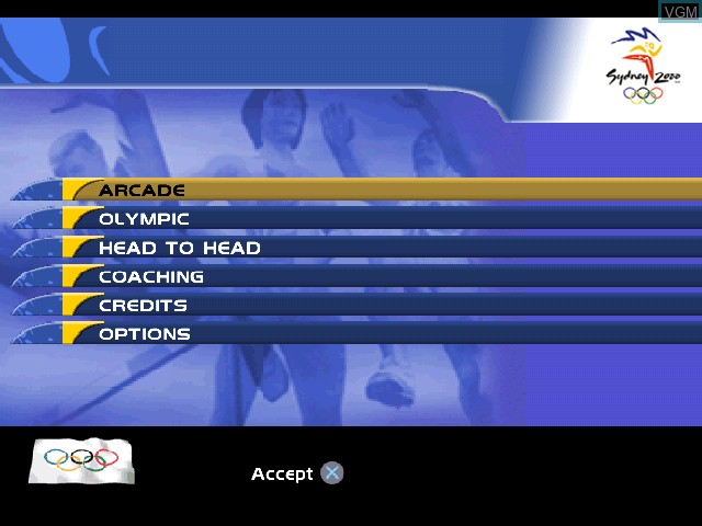 Image du menu du jeu Sydney 2000 sur Sony Playstation