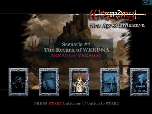 Image du menu du jeu Wizardry - New Age of Llylgamyn sur Sony Playstation