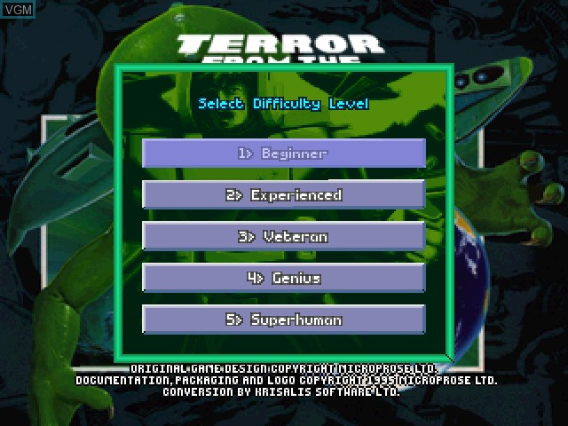 Image du menu du jeu X-COM - Terror from the Deep sur Sony Playstation