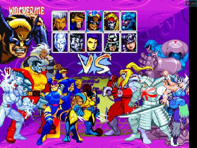Image du menu du jeu X-Men - Children of the Atom sur Sony Playstation