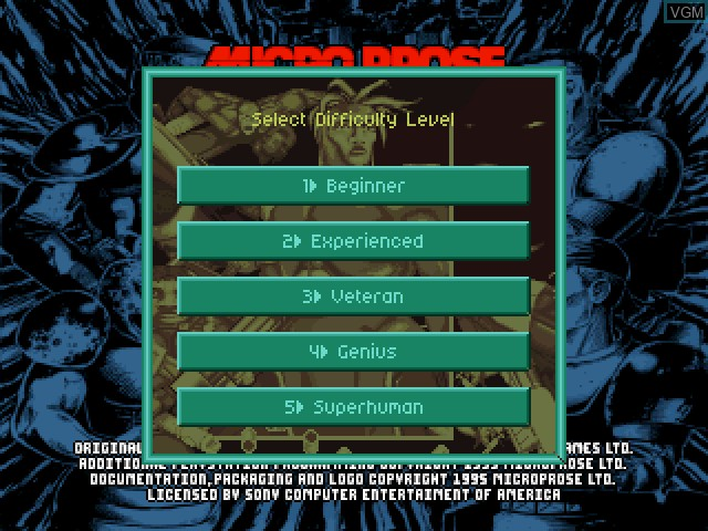 Image du menu du jeu X-COM - UFO Defense sur Sony Playstation