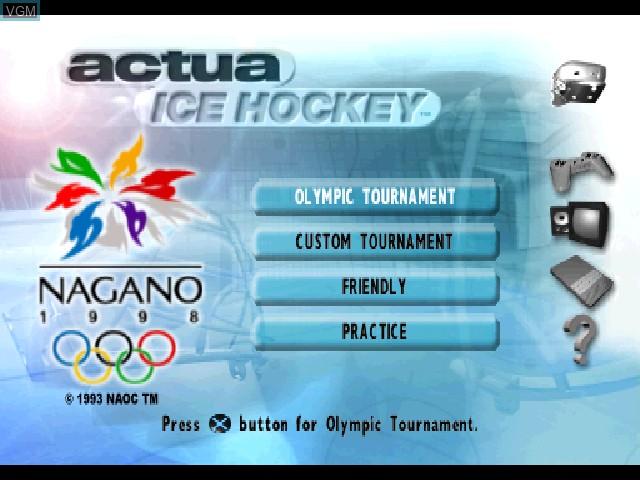 Image du menu du jeu Actua Ice Hockey sur Sony Playstation