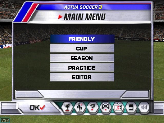 Image du menu du jeu Actua Soccer 3 sur Sony Playstation