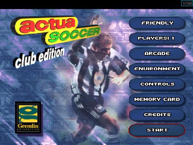 Image du menu du jeu Actua Soccer - Club Edition sur Sony Playstation
