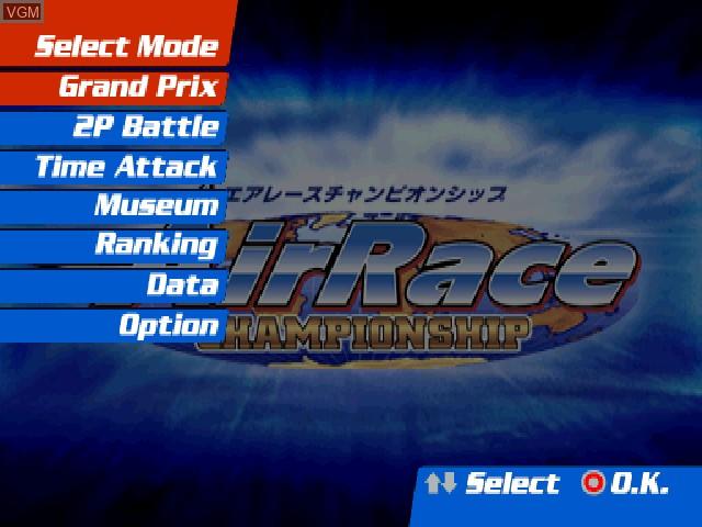 Image du menu du jeu AirRace Championship sur Sony Playstation