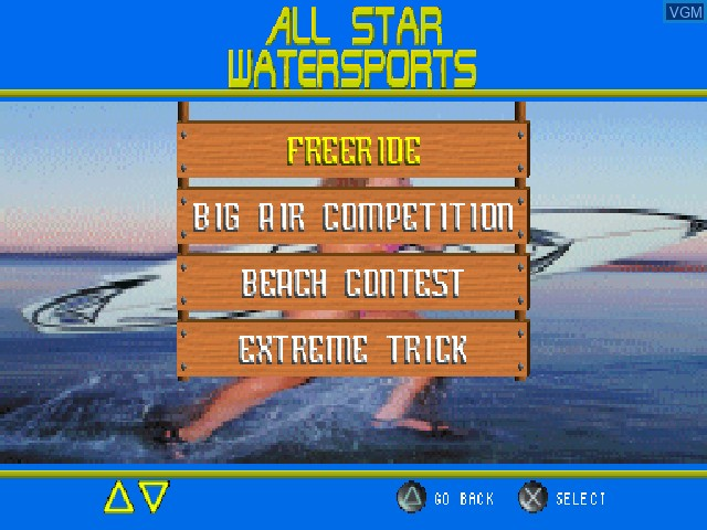 Image du menu du jeu All Star Watersports sur Sony Playstation