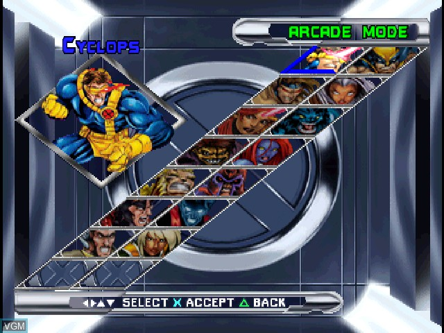 Image du menu du jeu X-Men - Mutant Academy 2 sur Sony Playstation