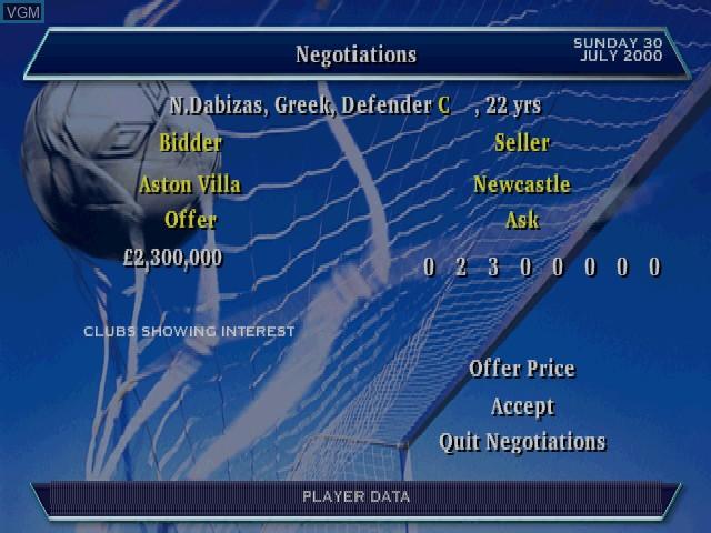 Image in-game du jeu Alex Ferguson's Player Manager 2001 sur Sony Playstation