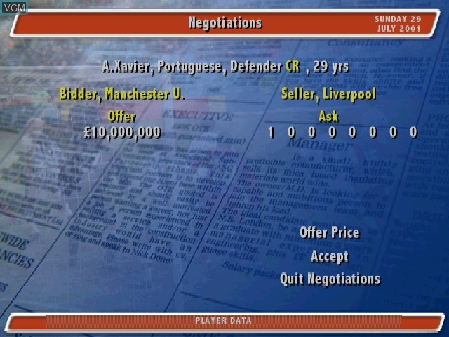 Image in-game du jeu Alex Ferguson's Player Manager 2002 sur Sony Playstation