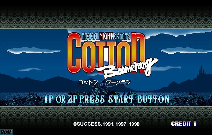 Image de l'ecran titre du jeu Cotton Boomerang sur ST-V