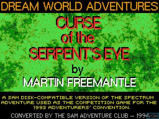 Image de l'ecran titre du jeu Curse of the Serpent's Eye sur MGT Sam Coupé