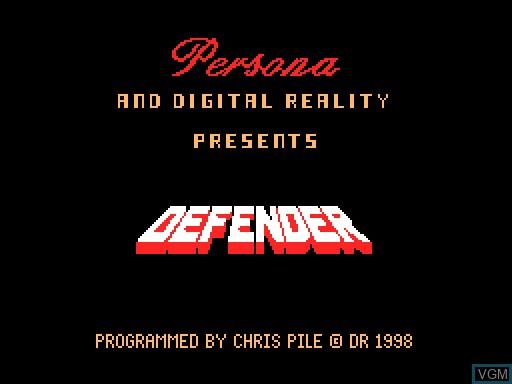 Image de l'ecran titre du jeu Defender sur MGT Sam Coupé