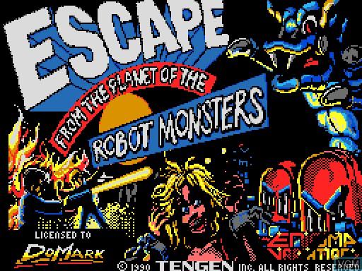 Image de l'ecran titre du jeu Escape from the Planet of the Robot Monsters sur MGT Sam Coupé