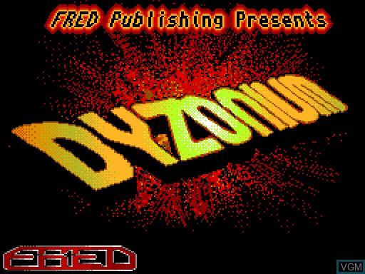 Image de l'ecran titre du jeu Dyzonium sur MGT Sam Coupé