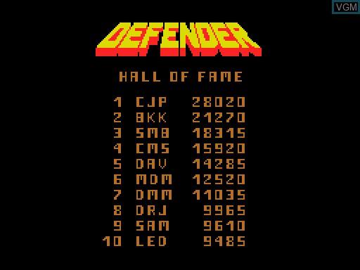 Image du menu du jeu Defender sur MGT Sam Coupé