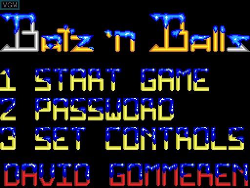 Image du menu du jeu Batz'n'Balls sur MGT Sam Coupé
