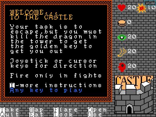Image du menu du jeu Castle sur MGT Sam Coupé