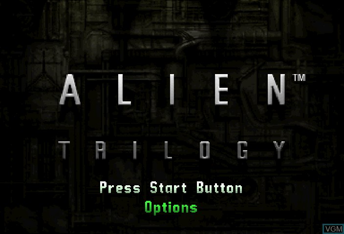 Image de l'ecran titre du jeu Alien Trilogy sur Sega Saturn
