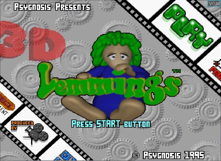 Image de l'ecran titre du jeu 3D Lemmings sur Sega Saturn