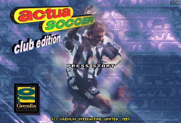 Image de l'ecran titre du jeu Actua Soccer - Club Edition sur Sega Saturn