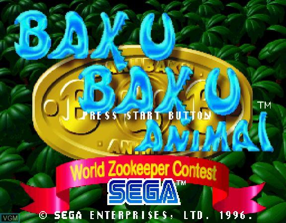 Image de l'ecran titre du jeu Baku Baku Animal - World Zookeeper Contest sur Sega Saturn