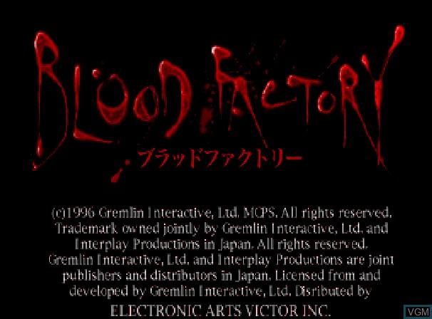 Image de l'ecran titre du jeu Blood Factory sur Sega Saturn
