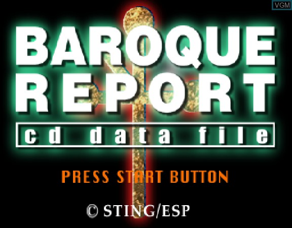 Image de l'ecran titre du jeu Baroque Report - CD Data File sur Sega Saturn