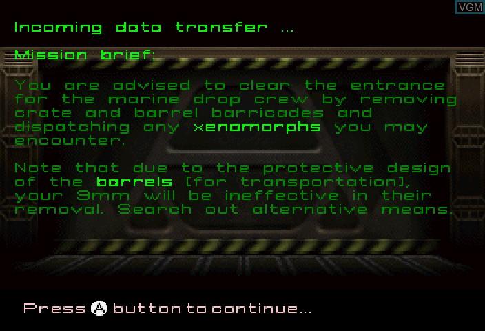 Image du menu du jeu Alien Trilogy sur Sega Saturn