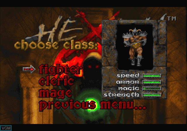 Image du menu du jeu Hexen - Beyond Heretic sur Sega Saturn