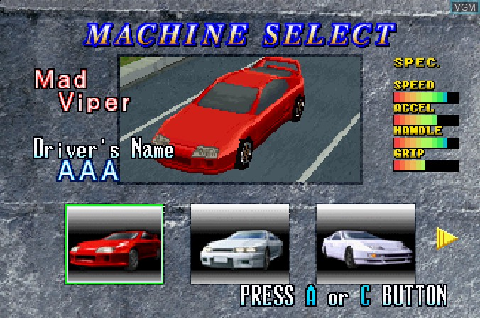 Image du menu du jeu Highway 2000 sur Sega Saturn