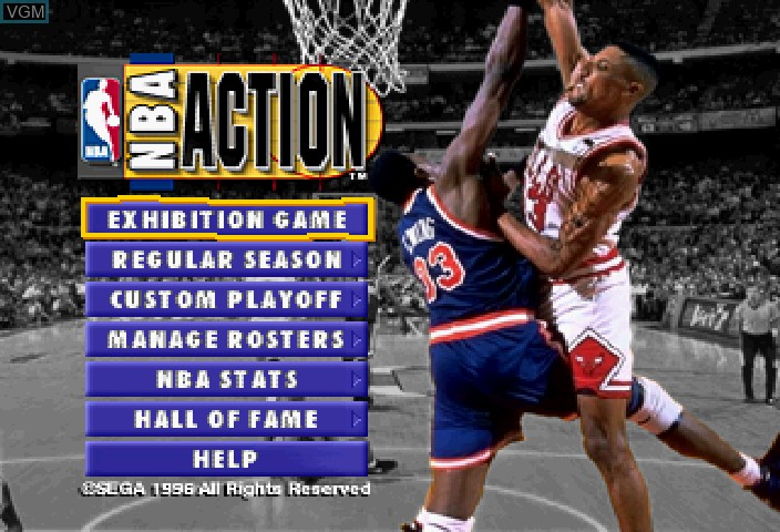 Image du menu du jeu NBA Action sur Sega Saturn